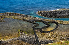 Твиновская плотина камня сердца (Chimei, Penghu, Тайвань) Стоковая Фотография RF