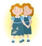 Твиновские девушки держа руки бесплатная иллюстрация