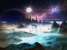 Твиновские звезды в орбите над ландшафтом чужеземца Стоковое фото RF
