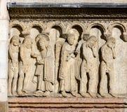 Творение и падение на фасад собора Моденаа Стоковое фото RF
