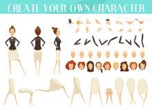 Творение комплекта стиля шаржа женщины иллюстрация штока
