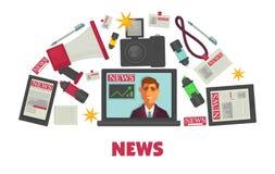 Творение новостей и комплект оборудования издания современный специальный иллюстрация штока