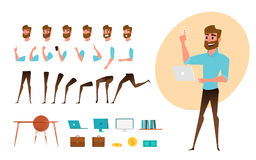Творение характера бизнесмена установленное для анимации Разделяет шаблон тела Различные эмоции, представления и ход, идти, стоя иллюстрация вектора