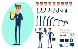 Творение характера бизнесмена установленное для анимации иллюстрация штока