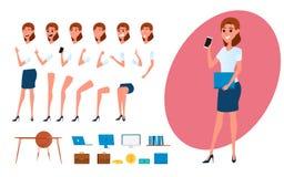 Творение характера бизнес-леди установленное для анимации Разделяет шаблон тела Различные эмоции, представления и ход, идя иллюстрация вектора