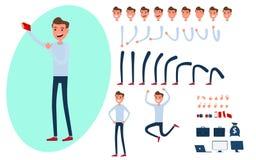 Творение характера молодого человека установленное для анимации иллюстрация штока