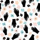 Творческая безшовная картина с перчатками Текстура нарисованная чернилами с руками также вектор иллюстрации притяжки corel Стоковое Изображение