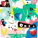 Творческая безшовная картина с формами, геометрическими элементами и цветками нарисованными рукой Творческая текстура также векто Стоковое фото RF
