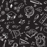 Творческая безшовная картина школы с калькирует чертежи на классн классном иллюстрация штока