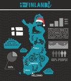 Творческая географическая карта Финляндии - скандинава иллюстрация штока