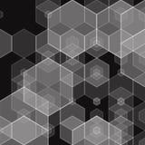Творческая геометрическая иллюстрация в стиле polyginal Серые шестиугольные диаграммы на черной предпосылке Идеи для дела иллюстрация вектора