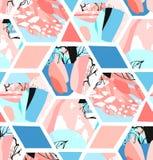 Творческая геометрическая предпосылка с флористическими элементами и различными текстурами коллаж Дизайн для плаката, карточки, п Стоковые Фото