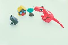 Творческая глина динозавра, кита, дома и дерева моделирует Тесто игры Стоковое Изображение RF