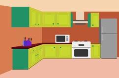 Творческая иллюстрация дизайна кухни мультфильма иллюстрация штока