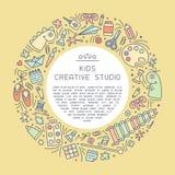 Творческая информационная карта студии с вещами для детей творческий текст деятельности и образца иллюстрация штока