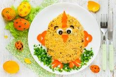 Творческая идея искусства еды на партии еды пасхи для детей Стоковое Фото
