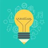 Творческая иллюстрация идеи с лампой и карандашем Стоковые Изображения RF