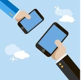 Творческая карточка с рукой и мобильным телефоном Стоковые Фотографии RF