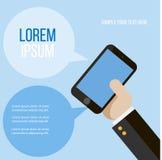 Творческая карточка с рукой и мобильным телефоном Стоковое Фото