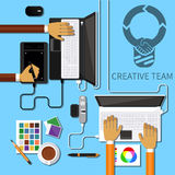 Творческая команда плоская Бесплатная Иллюстрация