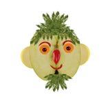 Творческая концепция еды Смешной портрет сделанный яблок, овощ Стоковые Изображения RF