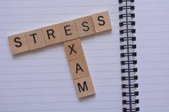 Творческая концепция - слова в древесине, стресс экзамена стоковая фотография