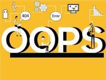 Творческая концепция слова Oops и люди делая техническую деятельность иллюстрация штока