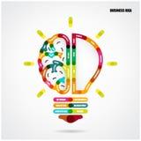 Творческая концепция электрической лампочки с предпосылкой идеи дела Стоковые Фото