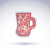 Творческая кружка пива украшенная с флористической картиной вектора Спирт Стоковая Фотография RF