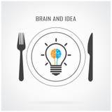 Творческая предпосылка идеи электрической лампочки и концепции мозга Стоковые Изображения RF
