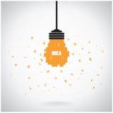 Творческая предпосылка концепции идеи электрической лампочки головоломки Стоковые Изображения