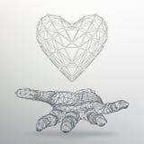 Творческая предпосылка концепции сердца на руке Абстрактная творческая предпосылка вектора концепции геометрических форм Стоковое Фото