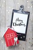 Творческая предпосылка рождества с ключевым и новым домом Стоковое Изображение