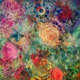 Творческая предпосылка с флористическими элементами и различными текстурами Стоковые Фотографии RF