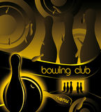 Творческая предпосылка для клуба боулинга рекламировать и меню Стоковое фото RF