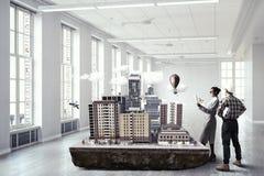 Творческая работа группы архитектора Мультимедиа Стоковое фото RF
