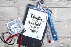 Творческая рождественская открытка для electrican дела Стоковые Фото