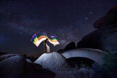 Творческая светлая картина с освещением трубки цвета с ландшафтами стоковое изображение