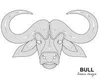 Творческая стилизованная голова быка в этническом линейном стиле Животная предпосылка Стоковые Фото