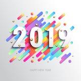 Творческая счастливая карточка Нового Года 2019 на современной динамической предпосылке бесплатная иллюстрация