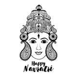 Творческая флористическая рамка основанная на линии искусстве с красивой стороной Maa Durga на декоративной предпосылке для индус Стоковая Фотография RF