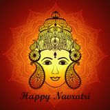 Творческая флористическая рамка основанная на линии искусстве с красивой стороной Maa Durga на декоративной предпосылке для индус Стоковое Изображение