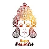 Творческая флористическая рамка основанная на линии искусстве с красивой стороной Maa Durga на декоративной предпосылке для индус Стоковые Изображения RF
