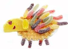 Творческая форма ежа еды студня плодоовощ мармелада сладостная Стоковое фото RF