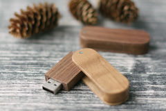 Творческие деревянные ручки usb на темной предпосылке Стоковая Фотография