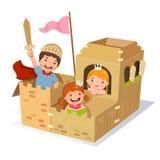Творческие дети играя замок сделанный из картонной коробки иллюстрация вектора