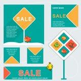 Творческие заголовок вебсайта или комплект знамени конца продажи сезона Стоковая Фотография