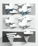 Творческие знамена погоды шаржа 3D Стоковое Изображение