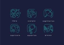 Творческие значки знаков зодиака Стоковые Изображения