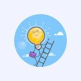 Творческие концепции дела чертежа с накаляя идеей электрической лампочки Стоковые Изображения